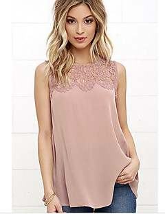 Women's Daily Going out Casual Street chic Summer Fall T-shirt,Solid Round Neck Sleeveless Polyester Thin
