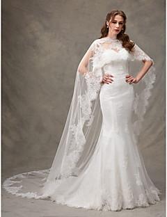 billiga Trumpet-/sjöjungfrubrudklänningar-Trumpet / sjöjungfru Hjärtformad urringning Svepsläp Spets Bröllopsklänningar tillverkade med Draperad / Spets av LAN TING BRIDE® / Ja