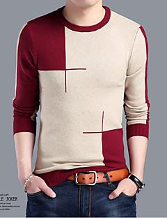 お買い得  メンズセーター&カーデガン-男性用 週末 カジュアル 長袖 ラウンドネック カシミヤ - ジャカード ラウンドネック