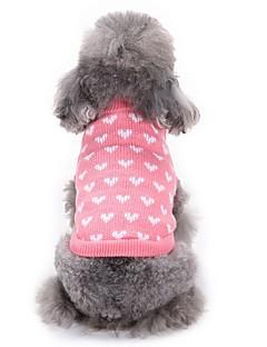 billiga Hundkläder-Katt Hund Tröjor Hundkläder Hjärta Rosa Akrylik Fiber Kostym För husdjur Herr Dam Ledigt/vardag Mode