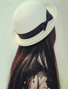 billige Trendy hatter-Dame Søtt Fritid Bøttehatt Stråhatt Solhatt,Sommer Høst Ensfarget Polyester Strå Brun Hvit Fuksia Kakifarget