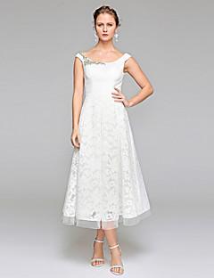 billiga Brudklänningar-A-linje Scoop Neck Telång Spets Bröllopsklänningar tillverkade med Bård / Draperad av LAN TING BRIDE® / Öppen Rygg
