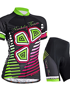 cheap Cycling Clothing-Nuckily Women's Short Sleeves Cycling Jersey with Shorts - Black Floral / Botanical Bike Shorts Jersey Clothing Suits, Waterproof,