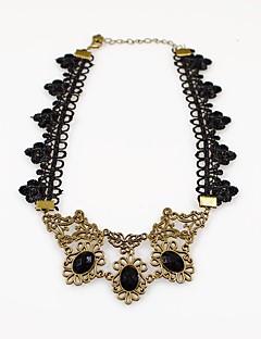 Kadın's Gerdanlıklar Oval Shape Crown Shape Dantel Moda Türkçe Klasik Gül altın + Siyah Mücevher IçinDüğün Parti Özel Anlar Doğumgünü