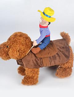 billiga Hundkläder-Katt / Hund Dräkter / Kostymer Hundkläder Jeans Regnbåge Tyg / Cotton Kostym För husdjur Sommar Cosplay / Cowboy / Mode