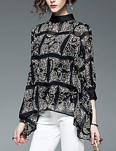 baratos Blusas Femininas-Mulheres Blusa Estampado Colarinho Chinês
