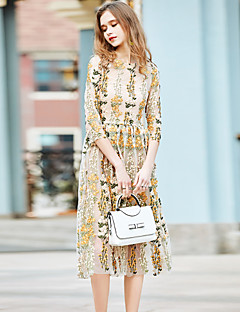 Women's Going out Casual/Daily Holiday A Line Dress,Embroidered Round Neck Midi Cotton Polyester Spring Summer Mid Rise Inelastic Medium