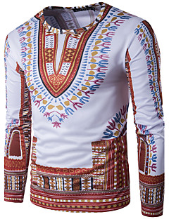 Men's Sports Casual/Daily Boho Street chic T-shirt,Geometric Print Round Neck Long Sleeve Polyester