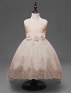 принцесса асимметричный цветок девушки платье - хлопок рукавов жемчужина шеи с аппликацией по ydn