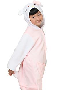 billige Kigurumi-Kigurumi-pysjamas Kat Anime Onesie-pysjamas Kostume Flanell Fleece Hvit Cosplay Til Barne Pysjamas med dyremotiv Tegnefilm Halloween