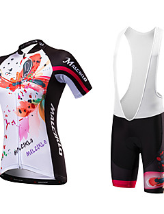 Malciklo Cycling Jersey with Bib Shorts Women's Short Sleeves Bike Clothing Suits Quick Dry Anatomic Design Ultraviolet Resistant
