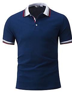 Men's Daily Sports Casual Active Summer Polo,Solid Shirt Collar Short Sleeves Cotton Rayon Thin