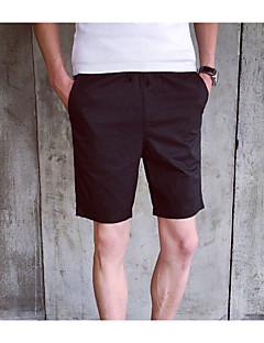 billige Herrebukser og -shorts-Herre Fritid Bomull Rett Shorts Bukser Ensfarget