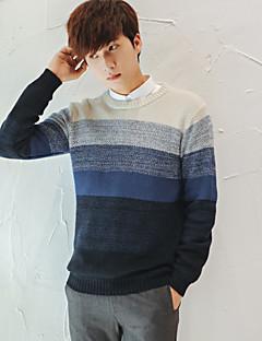 Herren Standard Pullover-Lässig/Alltäglich Einfach Patchwork Rundhalsausschnitt Langarm Polyester Frühling Dünn Mikro-elastisch