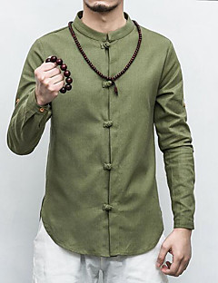 Men's Daily Casual Chinoiserie Spring Fall Shirt,Solid Standing Collar Long Sleeves Linen Thin