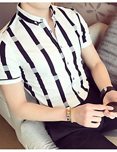 Men's Casual/Daily Simple Summer Polo,Striped Shirt Collar Short Sleeves Cotton
