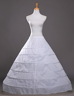 Wedding Party Evening Slips Cotton Polyester Floor Length Glossy A Line Slip Ball Gown With White Bow
