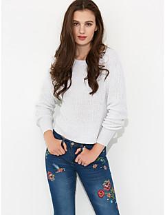 Normal Pullover Fritid/hverdag Enkel Dame,Ensfarget Rund hals Langermet Polyester Høst Vinter Tykk Mikroelastisk