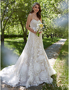 A Line Sweetheart Court Train Lace Wedding Dress With Sash Ribbon Flower By LAN