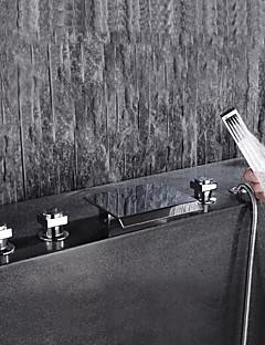 billige Foss-Badekarskran - Moderne Krom Udspredt Keramisk Ventil Bath Shower Mixer Taps / Messing / Tre Håndtak fem hull