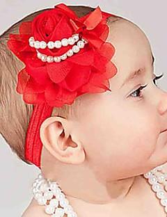 billige Babytøj-Unisex Hår Tilbehør Alle årstider - Tweed Chiffon - Pandebånd - Hvid Rød Lilla Marineblå