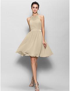 billige Romantisk rosa-A-linje Besmykket Knelang Georgette Brudepikekjole med Belte / bånd Plissert av LAN TING BRIDE®