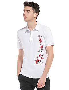 メンズ お出かけ カジュアル/普段着 春 夏 Polo,シンプル シャツカラー フラワー コットン 半袖 薄手