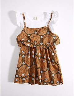 cheap Kids' New Ins-Girls' Daily Geometric Clothing Set, Cotton Summer Khaki