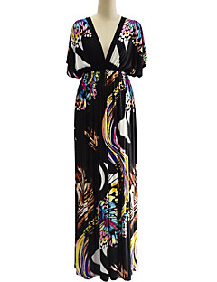 Χαμηλού Κόστους Μακριά φορέματα-Γυναικεία Μπόχο Μεγάλα Μεγέθη Παντελόνι - Γεωμετρικό Εξώπλατο / Στάμπα Μαύρο / Μακρύ / Βαθύ V / Μανίκι Νυχτερίδα