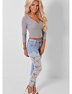Women's Mid Rise strenchy Jeans Pants,Simple Skinny Patchwork Lace Lace
