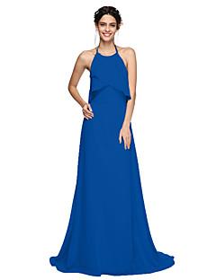 tanie Królewski błękit-Krój A Halter Tren sweep Szyfon Sukienka dla druhny z Plisy przez LAN TING BRIDE® / Piękne plecy