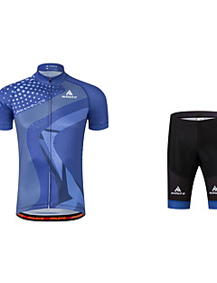billige Sykkelklær-Herre Sykkeljersey med shorts - Navyblå Sykkel Klessett, 3D Pute, Refleksbånd Polyester, Coolmax® / Elastisk