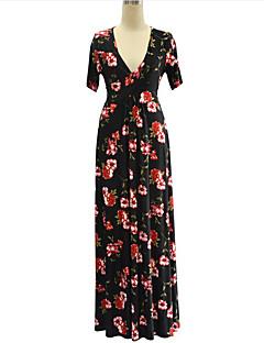 Χαμηλού Κόστους Μακριά φορέματα-Γυναικεία Μπόχο Μεγάλα Μεγέθη Παντελόνι Στάμπα Μαύρο / Μακρύ / Βαθύ V