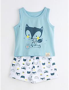 Χαμηλού Κόστους Ρούχα για Αγόρια-Γιούνισεξ Σετ Ρούχων Βαμβάκι Άνιμαλ Πριντ Καθημερινά Καλοκαίρι Κοντομάνικο Μπλε Απαλό