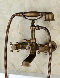 baratos Spray Lateral-Torneira de Banheira - Clássica / Regional / Tradicional Cobre Envelhecido Montagem de Parede Válvula Cerâmica