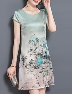 billige Plusstørrelser til kvinder på udsalg-Dame Plusstørrelser I-byen-tøj Silke Løstsiddende Kjole Trykt mønster Over knæet
