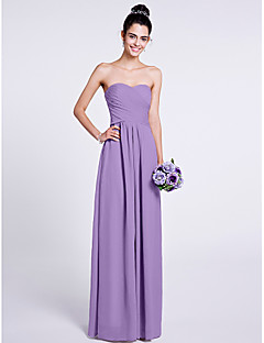 A-Line Strapless Sweetheart Floor Length Chiffon Bridesmaid Dress with Criss Cross by LAN TING BRIDE®