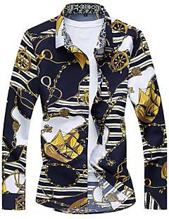 billige Herremote og klær-Bomull Skjorte - Stripet Blomstret Galakse, Blomst Strand Herre