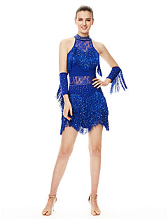 Shall We Latin Dance Dresses Women's Performance Spandex Crystals/Rhinestones / Tassel(s) 2 Pieces Black / Blue / Fuchsia / Red