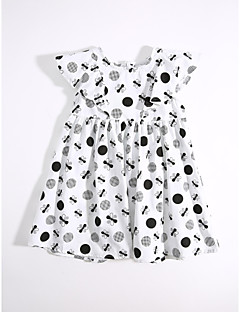 Girl's Daily Print Dress,Cotton Summer Floral White