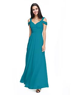 tanie Królewski błękit-Krój A Pasy Do kostki Szyfon Sukienka dla druhny z Krzyżowe / Marszczenia przez LAN TING BRIDE®