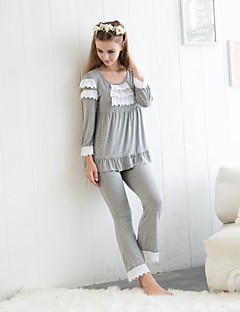 billige Moteundertøy-Dame Rund hals Pyjamas - Ensfarget, Lag-på-lag