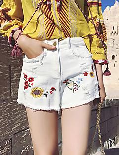 レディース ストリートファッション ハイライズ ルーズ ワイドレッグ ジーンズ ショーツ パンツ 引き裂かれました 刺繍 タッセル プリント