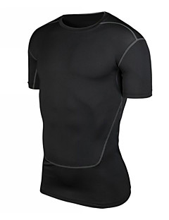 billige Løbetøj-Herre Løbe-T-shirt Kortærmet Hurtigtørrende, Åndbart, Bekvem T-Shirt / Toppe for Fiskeri / Træning & Fitness / Fritidssport Elastin Sort