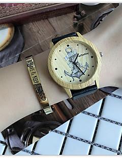billige Armbåndsure-Dame Quartz Armbåndsur Kinesisk Af Træ / Sej Læder Bånd Afslappet / Træ Sort / Brun / Kaki