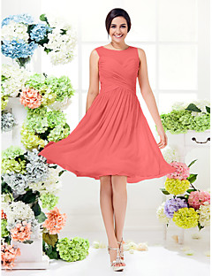 cheap Romance Blush-A-Line Jewel Neck Knee Length Georgette Bridesmaid Dress with Criss Cross by LAN TING BRIDE®