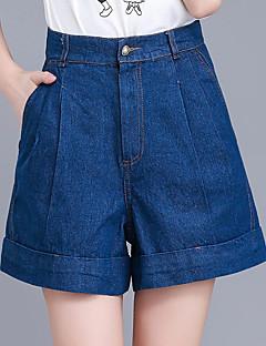 お買い得  ショーツ-女性用 プラスサイズ ハイライズ ワイドレッグ ショーツ ジーンズ パンツ - プリーツ, ソリッド