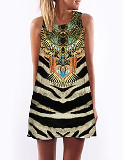 お買い得  レディースドレス-女性用 お出かけ 祝日 ストリートファッション シース ドレス - プリント 膝上 ハイライズ