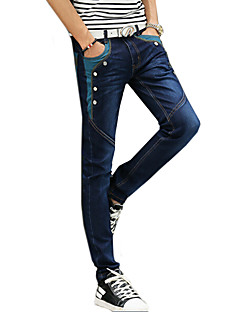 Men's Mid Rise Micro-elastic Jeans Pants,Casual Patchwork Cotton All Seasons