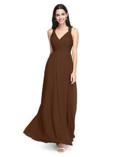 billige Grønn glamour-A-linje stropper Gulvlang Chiffon Brudepikekjole med Kryssdrapering / Bølgemønster av LAN TING BRIDE®